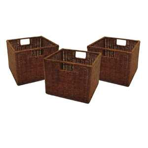 Winsome Wood Leo 3-Pc Small Rattan Basket Set, Walnut Finish