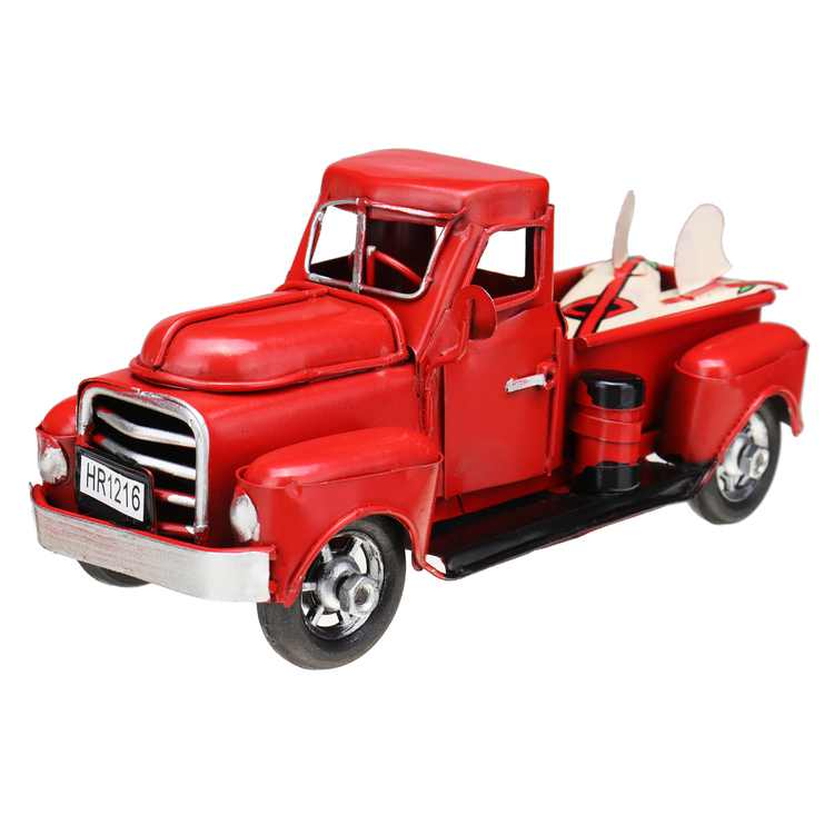 6.7inch Vintage Red Trucks Red Metal Car Model Truck Christmas Decoration Kids Gift Toy Red Metal Truck