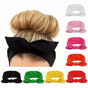 Turban Headband, Coolmade 8 Pack Women Headwraps Workout Hair Band Girls Bows Bandana Yoga Running Boho Elastic Head Wrap Accessories Fashion Sport, Solid Color