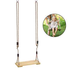 Outdoor Adult Tree Swing Seat Kids Trapeze Chair Wooden Hanging Swing Seat Playground Backyard Swing with Rope