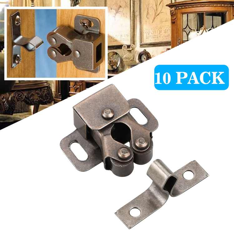 10Pack Double Roller Catch Cupboard Cabinet Door Latch Hardware Antique Oil-rubbed bronze Home Kitchen Tools