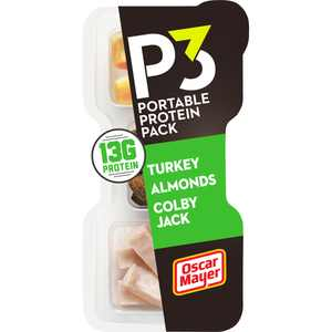 P3 Portable Protein Snack Pack with Turkey, Almonds & Colby Jack Cheese, 2 oz Tray