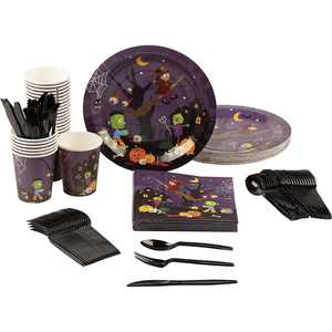 Serves 24 Monster & Witches Party Supplies & Decorations for Halloween, Purple & Black Paper Plates, Napkins, Cups & Cutlery