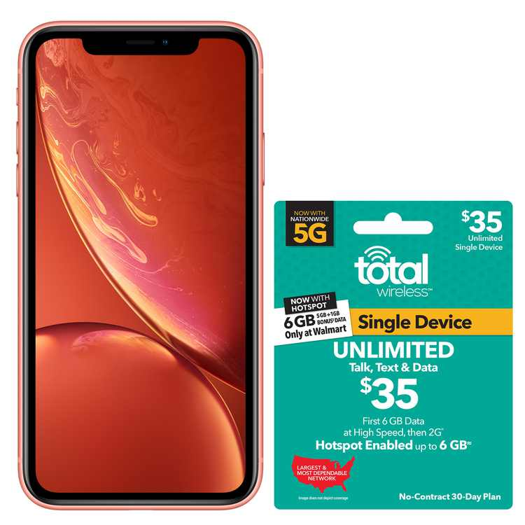 Total Wireless Apple iPhone XR, 64GB, Coral - Prepaid Smartphone + TW $35 UNLIMITED