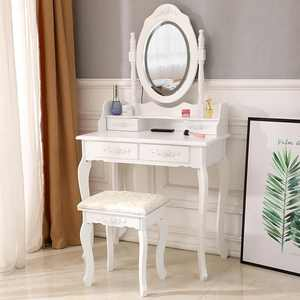 UBesGoo White Vanity Set with Lighted Mirror,Wood Makeup Dressing Table and Stool Set with 4 Drawers and Cushioned Stool for Bedroom