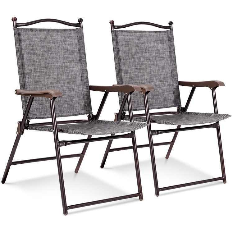 Costway Set of 2 Patio Folding Sling Back Chairs Camping Deck Garden Beach Gray