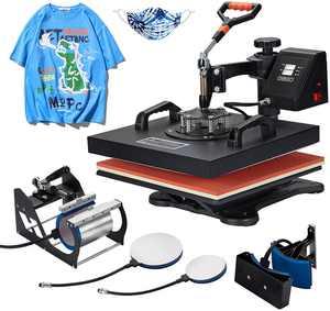 Danrelax T Shirt Heat Press 5 in 1 Heat Transfer Machine 15x15 Inch for Mug Hat Cap Plate, 1400W