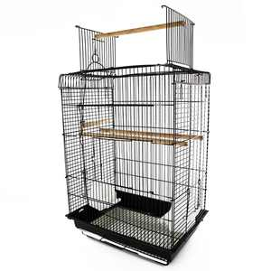 "PawHut 22""H Steel Parrot Bird Cage Open Play Top Perch Feeding Bowl - Black"