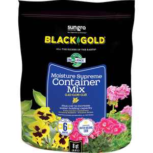 SunGro Black Gold Natural and Organic Moisture Supreme Container Mix, 8 Qt Bag