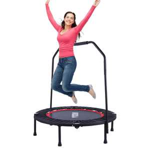 """Fitness Trampoline 40"""" Mini Foldable Re-bounder Trampoline with Adjustable Handrail LEANO"""