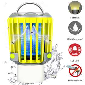 350 Lumen Outdoor LED Camping Lanterns Rechargeable , 3 IN 1 Camping Lantern Tent Light Mosquito Killer with 2200mAh Battery Powered