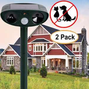 2Pcs Solar Powered Dual Ultrasonic Dog Cat Animal Repeller Outdoor Yard Garden Scarer Repellent Deterrent