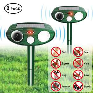 2PCS Solar Powered Ultrasonic Pest Repeller, Dog Bird Insect Animal Pest Repeller Control Rodent Repellent with Motion Sensor for Outdoor Garden Yard