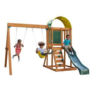 KidKraft Ainsley Wooden Outdoor Swing Set / Playset with Slide, Chalk Wall, Canopy and Rock Wall