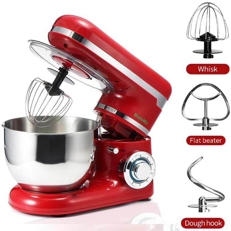 110V Stand Mixer,1200W 6-Speed Tilt-Head Electric Food Stand Mixer with Dough Hook, Mixing Beater and Whisk, Splash Guard, 4.2QT Stainless Steel Bowl (Red)