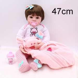 19 Inches Handmade Reborn Newborn Baby Doll Adorable Lifelike Toddler Baby Doll Toy for Girl Kid with Clothing +Pacifier +Bottle,Pink