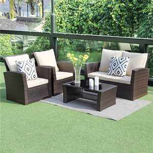 5 Piece Outdoor Patio Furniture Sets, Wicker Rattan Sectional Sofa with Seat Cushions, Brown