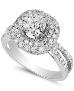 Diamond Halo Engagement Ring (2 ct. t.w.) in 14k White Gold