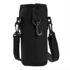 Water Bottle Carrier Insulated Neoprene Outdoor Bottle Holder Portable Sports Bottle Sleeve with Detachable Shoulder Strap, Fits 1000ml Water Bottle 750ml Vacuum Cup - Black
