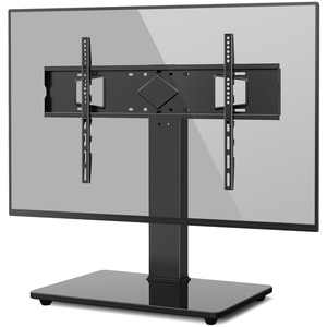 Rfiver Black Universal Swivel TV Stand Mount for 40 to 75 inch TV Glass Base, Black