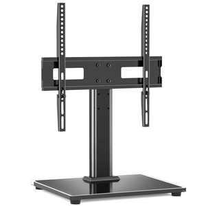 Modern Black Tabletop TV Stand for 27 to 55 inch TVs Black Metal Mount