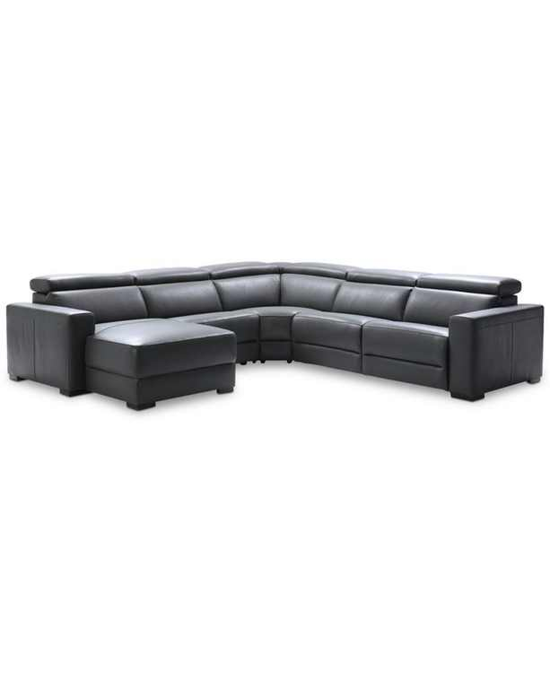 """Nevio 124"""" 5-pc Leather Sectional Sofa with Chaise, 1 Power Recliner and Articulating Headrests, Created for Macy's"""