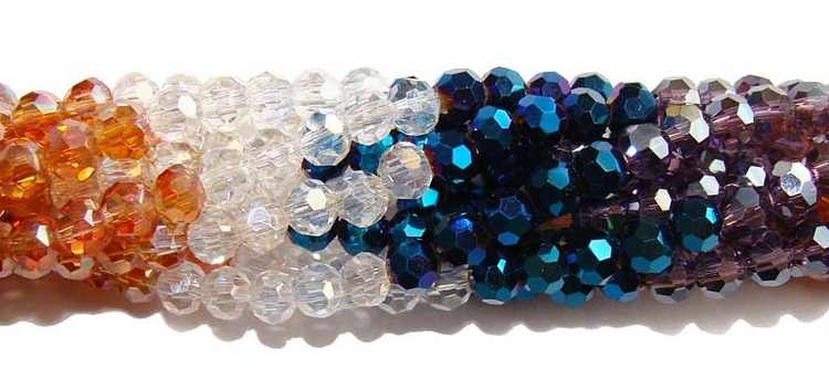 4mm Blue Clear Champaigne Purple Glass Faceted Round Beads Jewelry Making