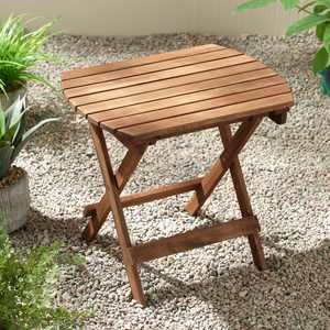 """Monterey 20"""" Wide Natural Wood Outdoor Side Table for Garden Yard Patio Deck"""