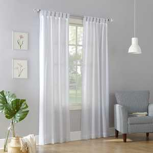 No. 918 Farrell Heathered Textured Semi-Sheer Tab Top Curtain Panel in White