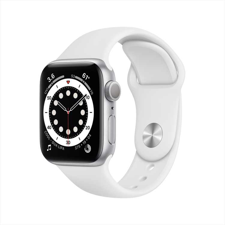 Apple Watch Series 6 GPS, 40mm Silver Aluminum Case with White Sport Band - Regular