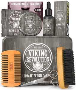 Viking Revolution Ultimate Beard Grooming Kit for Men Gift Sets - Beard Care Set Black