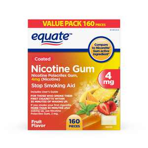 Equate Nicotine Coated Gum 4 mg, Stop Smoking Aid, Fruit Flavor, 160 Count