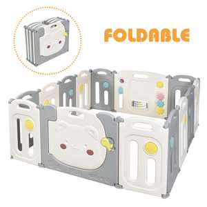 Costway 14-Panel Foldable Baby Playpen Kids Safety Yard Activity Center with Storage Bag