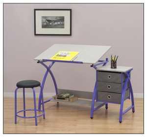 Studio Designs - Comet Center Craft Desk - Purple/Gray