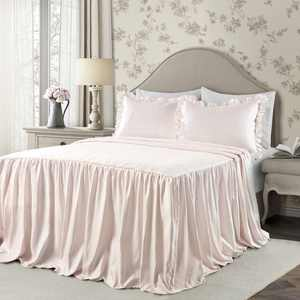 Lush Decor Ticking Stripe Polyester Bedspread, Twin, Blush, 2-Pc Set