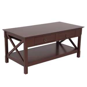Zimtown Coffee Table Rustic Style Side Coffee Table for Living Room with Storage Shelf