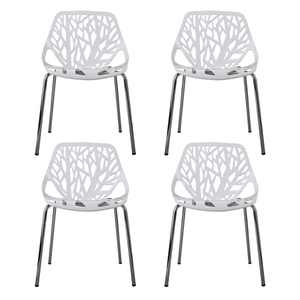 JAXPETY Dining Chair, Set of 4, White