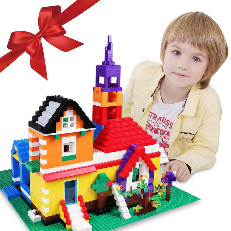 Exercise N Play Christmas Birthday Gift, Creative Bricks Kit Toy Building Set with Wheels, Tires, Axles, Windows, Doors, Leaves, Flowers, Grass -Compatible with All Major Brands (1166 Pcs)