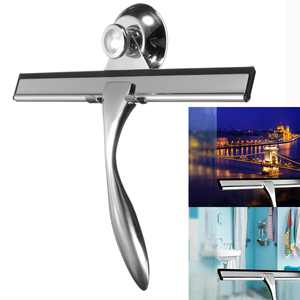 Stainless Steel Squeegee Glass Window Wiper Cleaner Mirror Tile Bathroom Shower with Storage Suction Hook