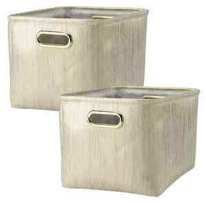 Lambs & Ivy Metallic Gold Storage Basket - 2 Pack
