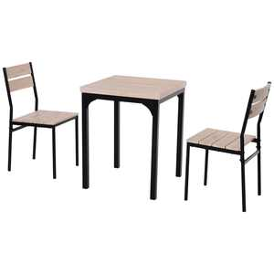 HOMCOM Rustic Country Wood Top 3 Piece Kitchen Table Dining Set w/ Chairs