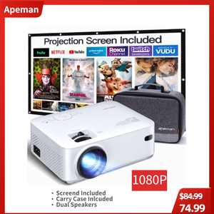 APEMAN Mini Projector, 1080P LCD Display 200'' Portable Video Projector, Screen Included