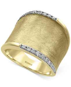 D'Oro by EFFY Diamond Wide Band (1/4 ct. t.w.) in 14k Gold