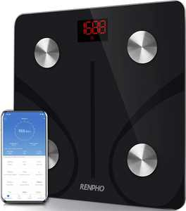 Renpho Bluetooth Body Fat Scale Smart BMI Scale Digital Bathroom Wireless Weight Scale, Body Composition Analyzer with Smartphone App 396 lbs, Black