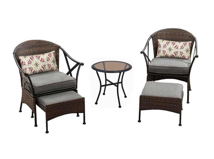 Mainstays Skylar Glen 5-Piece Outdoor Chat Set, Grey