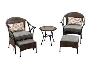 Mainstays Skylar Glen 5 Piece Outdoor Chat Set, Grey