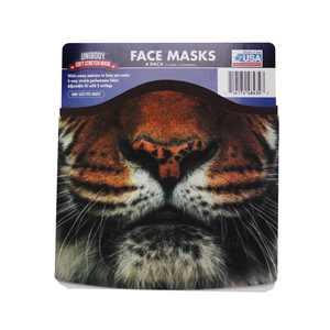 Face Mask 4 Pack Brown W/ Lion & Dog