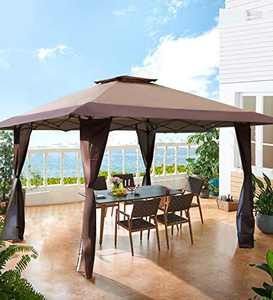 MF Studio 13' x 13' Outdoor Gazebo Pop up Shade Canopy for Outdoor, Backyard, Party, Brown