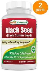 2 PACK - Best Naturals Black Seed Oil Capsules 500 mg 90 Count - Minimum 0.95% Thymoquinone per Black Cumin Seed Oil softgeL
