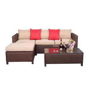 Ktaxon 5PCS Patio Wicker Rattan Sofa Set Outdoor Sectional Conversation Set Brown
